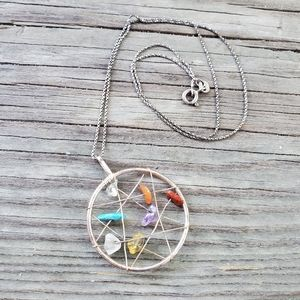 Earthbound semi precious stone catcher necklace